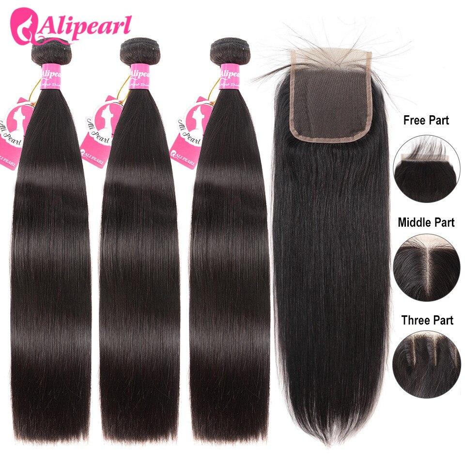 Tissage de cheveux brésiliens naturels-AliPearl Hair | Mèches de cheveux 100% naturel, avec Lace Closure 4x4, Extension de cheveux, lisses, 3 lots