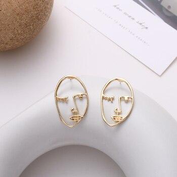 20Fashion Metal Creative Abstract Face Earrings Vintage Geometric Figure Personality Joker Stud Earr