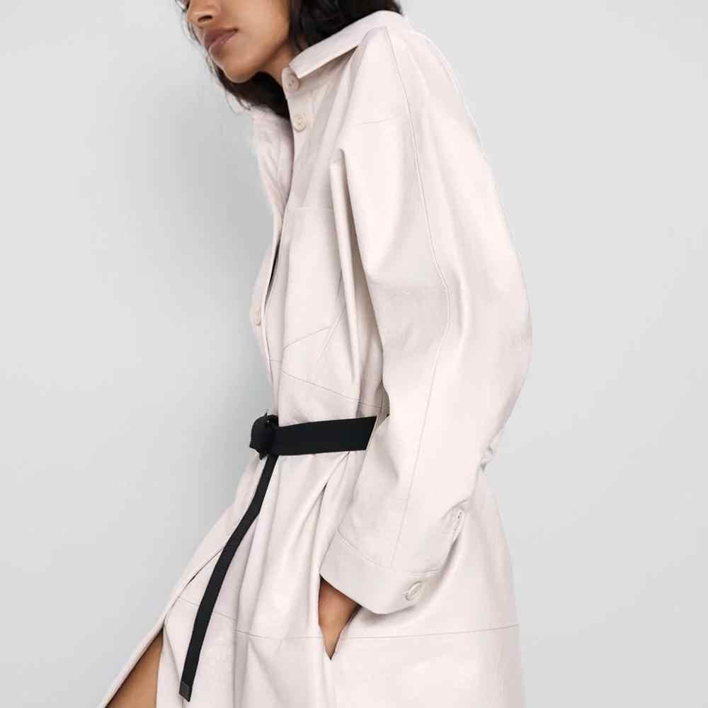ZA yeni sonbahar kış kadın ceketi beyaz PU deri uzun gömlek tarzı ceket dış giyim şık bayanlar ceket kadın üstleri kadın giyim