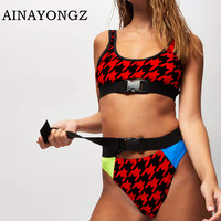 2020 Sexy Bikini Swimwear Female Belt Socket Printed Stitching Bathing Suit Push-up Geometric Pattern Swimsuit U-neck Bather New