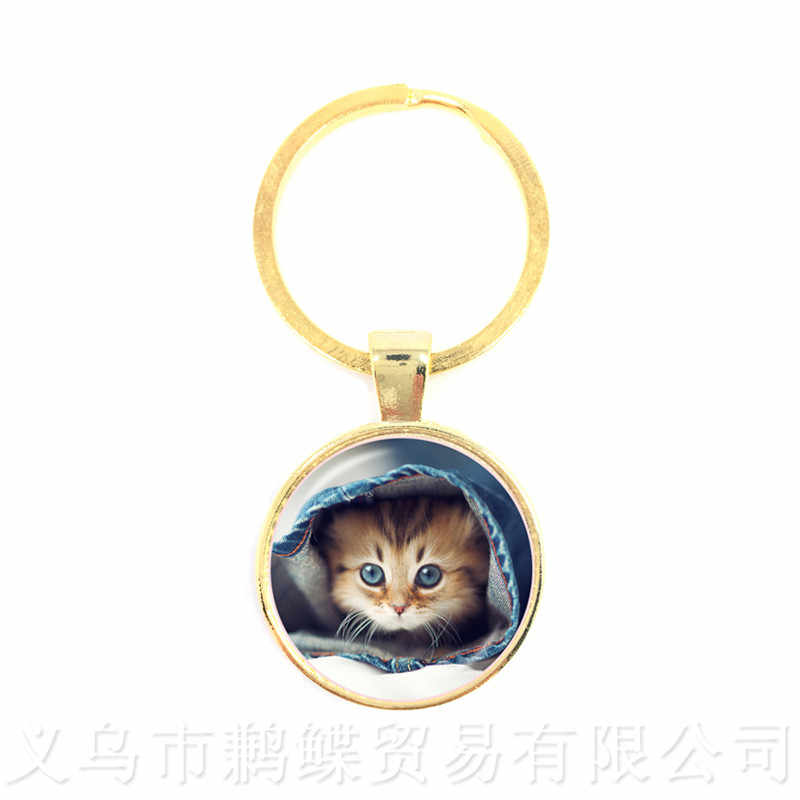 Fortuna Gato Chaveiros 25 milímetros Rodada Cúpula De Vidro Padrão Gato Série Chaveiro Presente do Amante Do Gato Criativo Pode Personalizar O Seu Amado para animais de estimação