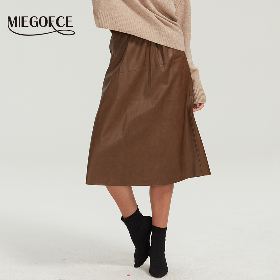 Miegofce 2019 Winter New Leather Skirt Women's Skirt Straight Korean Version Self-improvement Solid Color