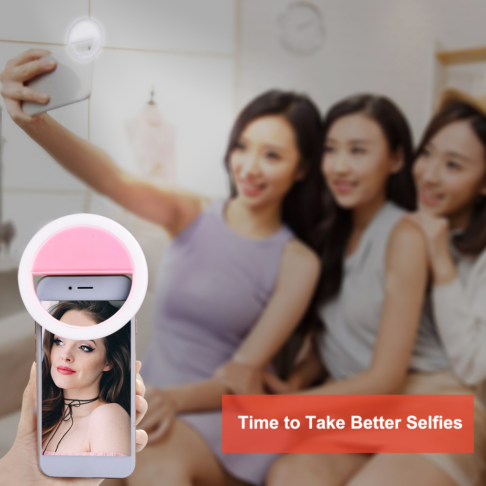 Portable Selfie Toning Ring Light 3 Colors Brightness Adjustable Camera Phone Photography Ring Lamp Novelty Lighting USB Charge