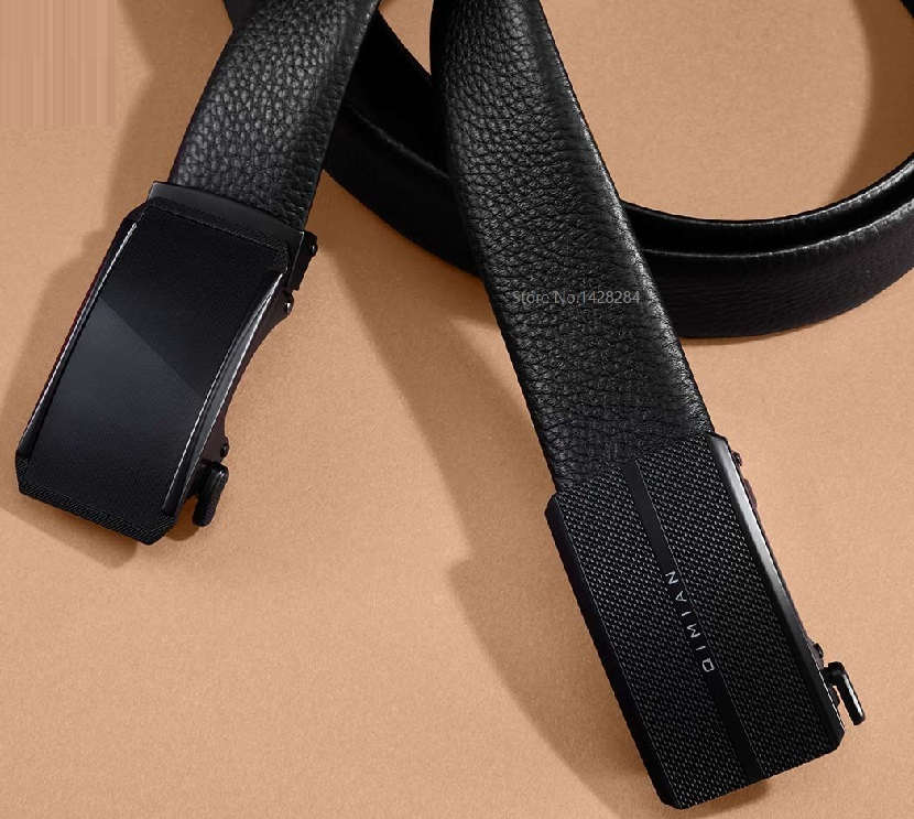New Qimian Fashion Man Double Sided First Layer Cowhide Automatic Buckle Belt  Soft Youth Belt Genuine Leather Business Belt