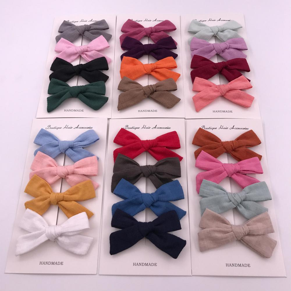 4PCS/Set Baby Hair Clips Cotton Girls Kids Bows Hairpins Spring Summer Hair Accessories For Children Barrette Infant Hairgrips