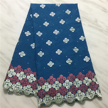 latest swiss voile lace 2019 lake blue african lace fabric white nigerian lace fabrics for wedding tissu african broderie(China)