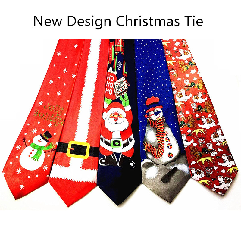 GUSLESON 2017 New Design Christmas Tie 9.5cm Style Men's Fashion Neckties Helloween Festival Tie Soft Designer Character Necktie