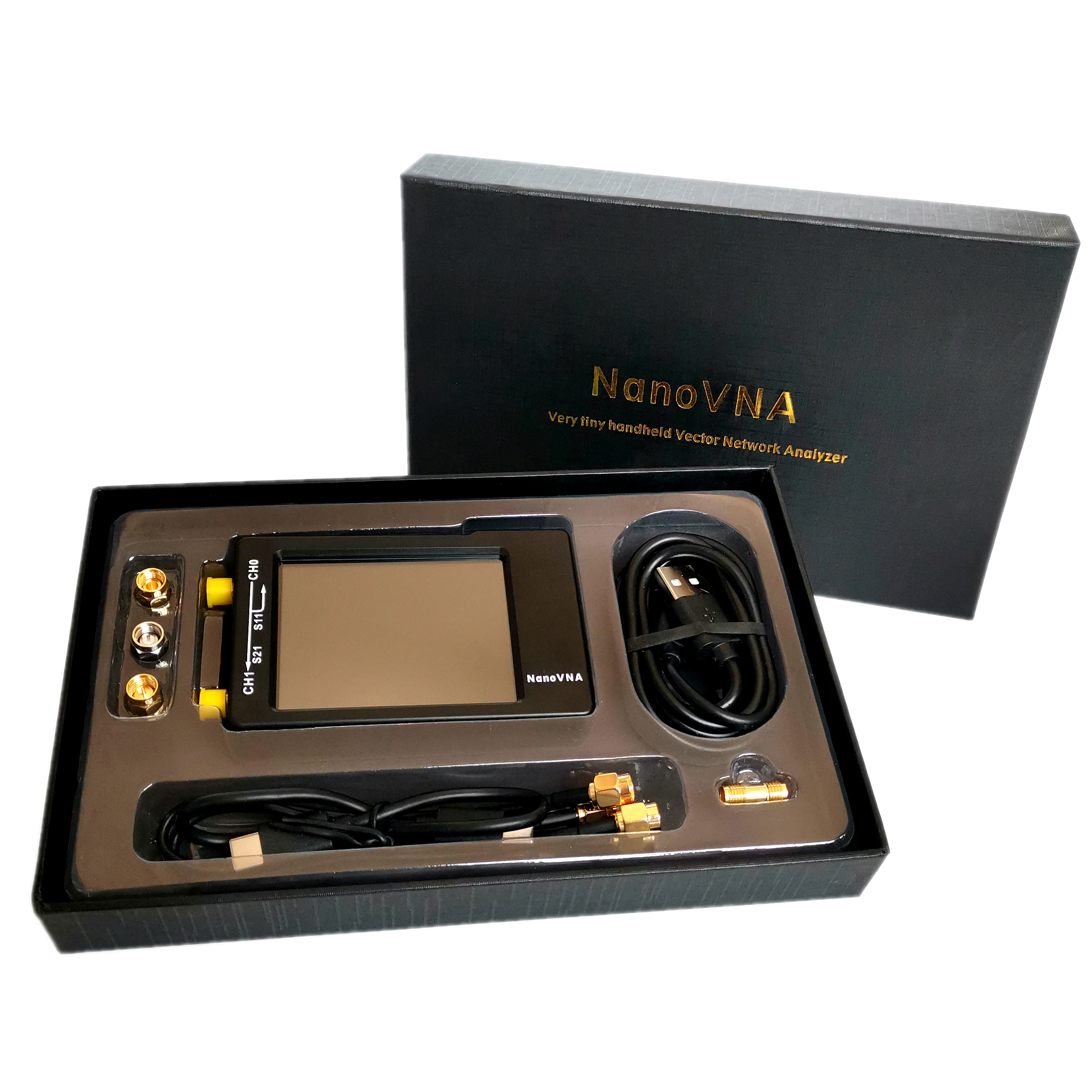 NanoVNA-H  50KHz~1.5GHz VNA 2.8inch LCD HF VHF UHF UV Vector Network Analyzer Antenna Analyzer + 450MAh Battery + Plastic Case