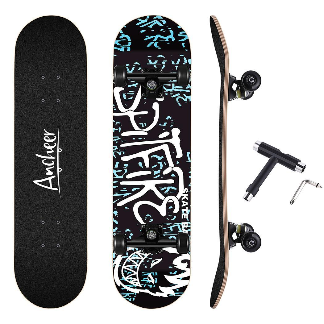Skateboard Maple 4 Wheels Double Rocker Board Teenager Adult Figure Skating Street 3 Colors Double Up Board Red Colors Frosted 3