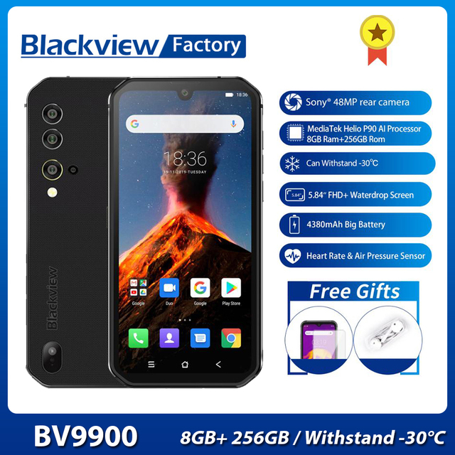 Smartphone Blackview BV9900 8GB+256GB Helio P90 Octa Core IP68 Rugged Mobile Phone Android 9.0 48MP Quad Camera NFC