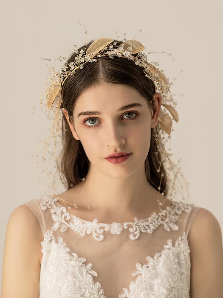 Himstory винтажные повязки на голову с цветами и листьями свадебные аксессуары для волос женские Свадебные тиара на голову вечерние украшения ... - 4