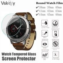 VSKEY – protecteur décran rond pour montre intelligente, 100 pièces, en verre trempé, diamètre 38mm 39mm 40mm 41mm 42mm 43mm 44mm 45mm 46mm
