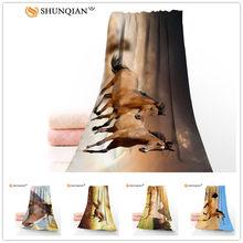 Washcloth Face-Towels Horse Microfiber Custom Quick-Drying 35x75cm
