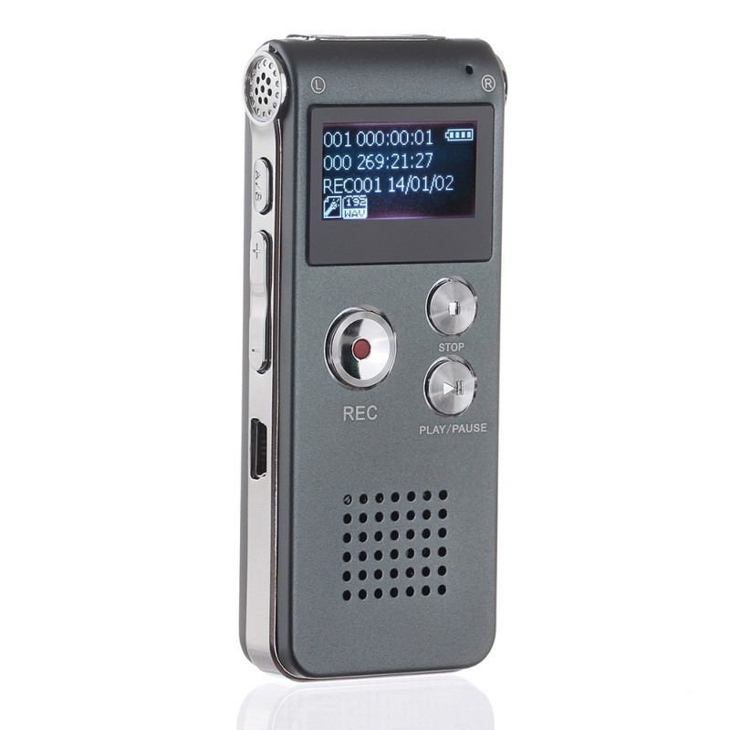 8GB/16GB Voice Recorder LCD Screen Rechargeable Digital Audio Sound Recording MP3 Player