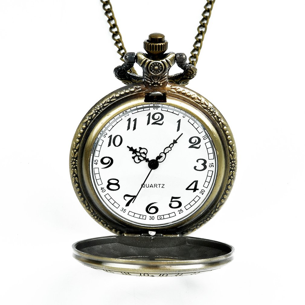 Large Pocket Watch Bronze Element Retro Pocket Watch Classic Design Men'S Women'S Fashion Quartz Pocket Watch Creative Gift