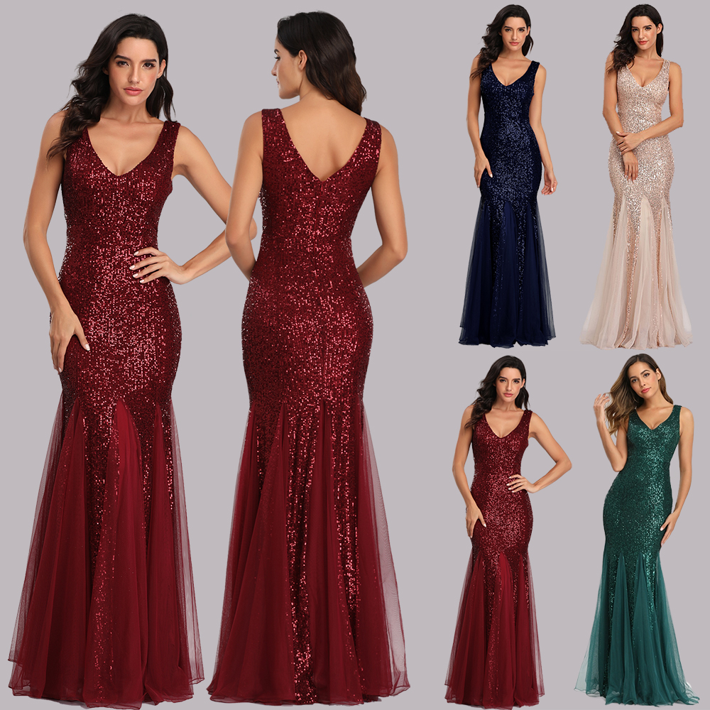 Big Size V Neck Mermaid Cocktail Dress Long Formal Prom Party Gown Sequins Sleeveless Robe De Soriee Sexy Vestido De Festa