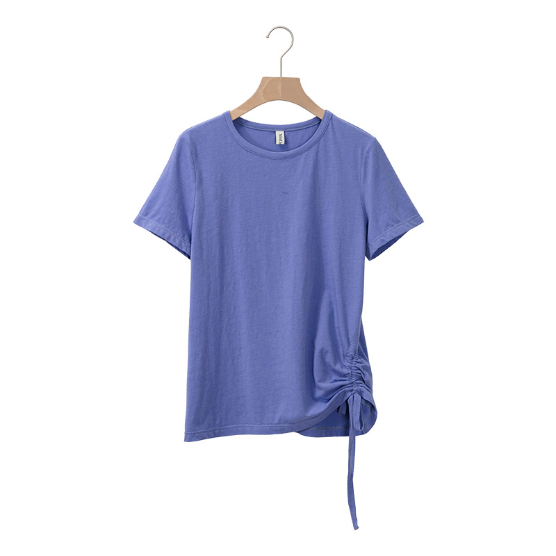 Women O-neck Short Sleeve Draw String Chic T-shirts Girls Knitting Slim Basic Irregular Tshirt Tops For Ladies image