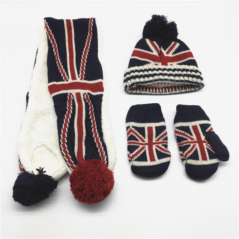 Kids Solid Flag Print Scarf Hat Glove Set Self Pompom Scarf Hat Children Beanie Mitten Sets US Flag UK Flag Print Winter Sets