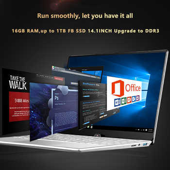 LHMZNIY Laptop 14.1 inch Windows10 Notebook 16GB RAM 1T SSD HD screen intel 1.8GHz WIFI Camera slim Student laptop Office game