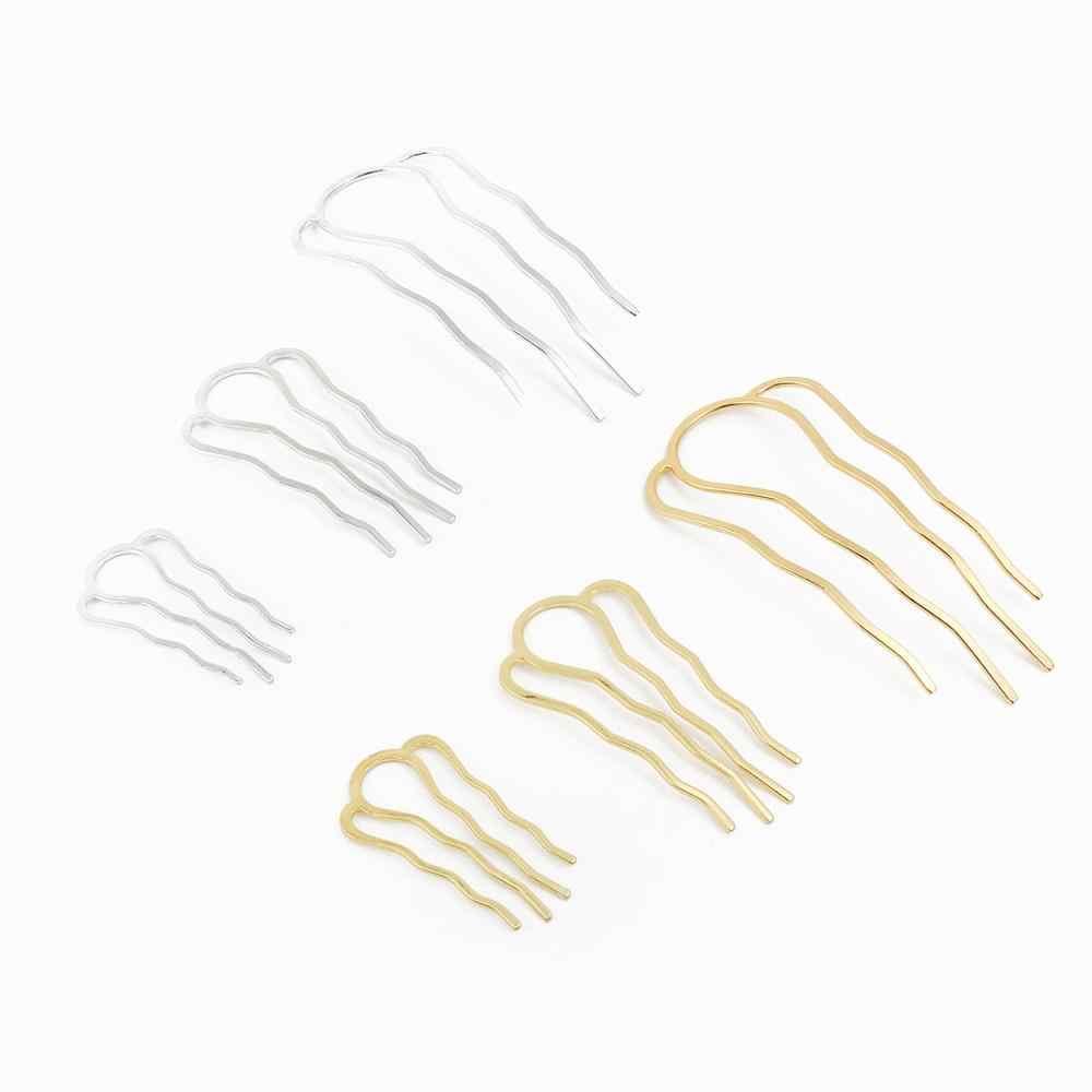 DIY hecho a mano plata oro 4 dientes peine accesorios para el cabello horquilla Barrette Base en blanco para hacer joyas de la novia Tiaras