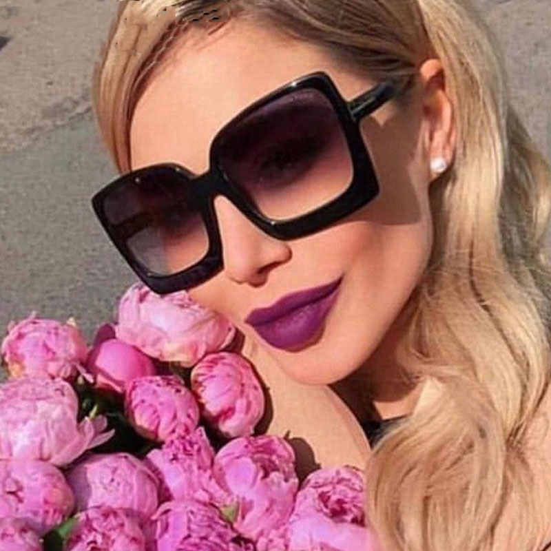 Oversize Square Sunglasse Women 2019 Vintage Black T Frame Sun Galsses Men Luxury Brand Black Shades UV400 New Fashion