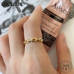 LouLeur Real 925 Sterling Silver Zircon Rings High Quality Minimalist Chain Rings For Women Vintage Luxury Fine Jewelry Gifts