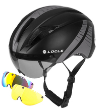 LOCLE Magnetic Goggles Cycling Helmet Road Mountain MTB Bike Bicycle He