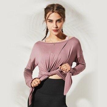Autumn Women Gym Yoga Crop Tops Yoga Shirts Long Sleeve Workout Tops Fitness Running Sport T-Shirts Training Sportswear S-L 4