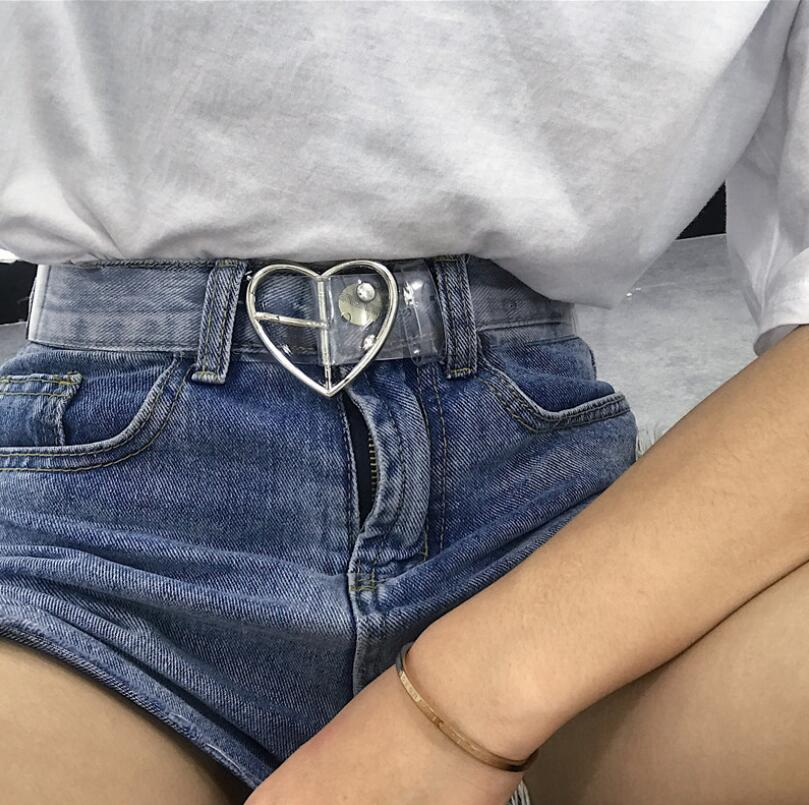 Heart Belts For Women Resin Cute Transparent Belt Jeans Dress Waist Strap Pin Buckle Harajuku Ladies Round PVC Clear Belt
