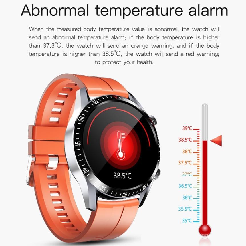 CAH20072902O_CK29 Round Thin 1.28 Screen Smart Watch Bluetooth Touch Waterproof IP67 Smart Band Call Temperature Multi-dials Smart Bracelet (2)