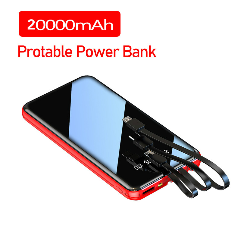 Power Bank 20000mAh Portable Fast Charging Full Screen Built-in 3 Cables Powerbank External Battery For IPhone Xiaomi Samsung