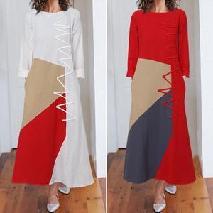 Dresses Celmia Women Patchwork Maxi Long Dress Vintage Kaftan Cotton Dress 2020 Autumn Fashion Casual Long Sleeve Vestidos Femme