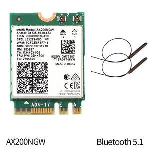 Image 2 - Dual Band Wifi 6 אלחוטי 2400Mbps AX200NGW NGFF M.2 Wlan Bluetooth 5.0 Wifi כרטיס 802.11ac/ax עבור אינטל AX200 אנטנות סט