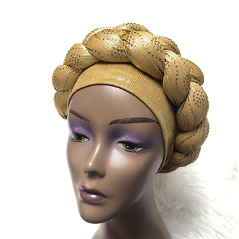 Nigerian Shining Gele Headtie Aso Oke Gele Muslim Already Made Auto Gele Hijab Aso Ebi Headtie African Turban Cap with Colorful image