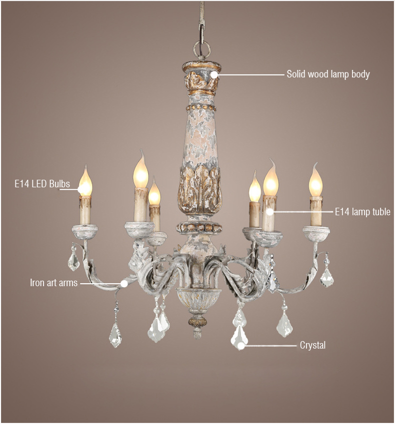 Ferro de madeira iluminação lustre cristal do