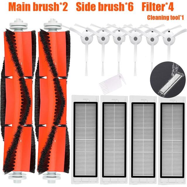 2* Main Brush+6 *Side Brush + 4* HEPA Filter Suitable for xiaomi vacuum 2 roborock s50 xiaomi roborock Mi Robot parts filters