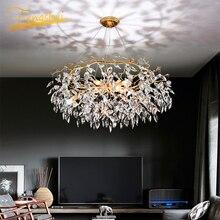 Lámpara colgante de lujo de estilo nórdico para sala de estar, candelabro de cristal dorado, brillo grande, decoración artística para salón de Hotel