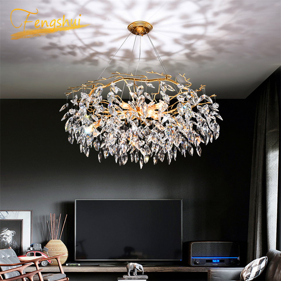 Nordic Luxury Gold Crystal Chandelier Lighting Modern Large Lustre Hanging Lamp for Living Room Hotel Hall Art Decor LightingChandeliers   -