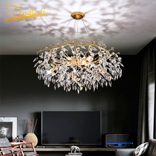 Nordic Luxury Gold Crystal Chandelier Lighting Modern Large Lustre Hanging Lamp for Living Room Hotel Hall Art Decor Lighting