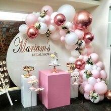 109 adet pembe krom gül altın balon kemer Garland 4D balon düğün doğum günü bebek duş parti arka plan dekor Globos çocuklar