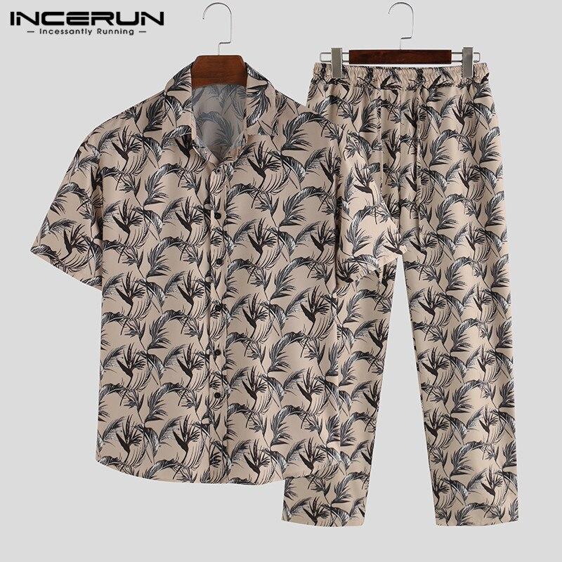 Fashion Men Pajamas Sets Printing Leisure Short Sleeve Tops Homewear Loose Pants 2020 Nightgown Men Sleepwear Suit INCERUN S-5XL