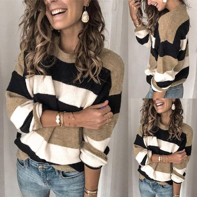 2020 Women Fall Casual Long Sleeve Pullover O Neck Color Block Loose Knitted Sweater Women's Clothing свитер женский pull femme