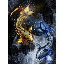 5D Daimond картина Полная площадь/круглая рыба пара картина из страз вышивка распродажа ромбовидный мозаика Вышивка крестом домашний декор