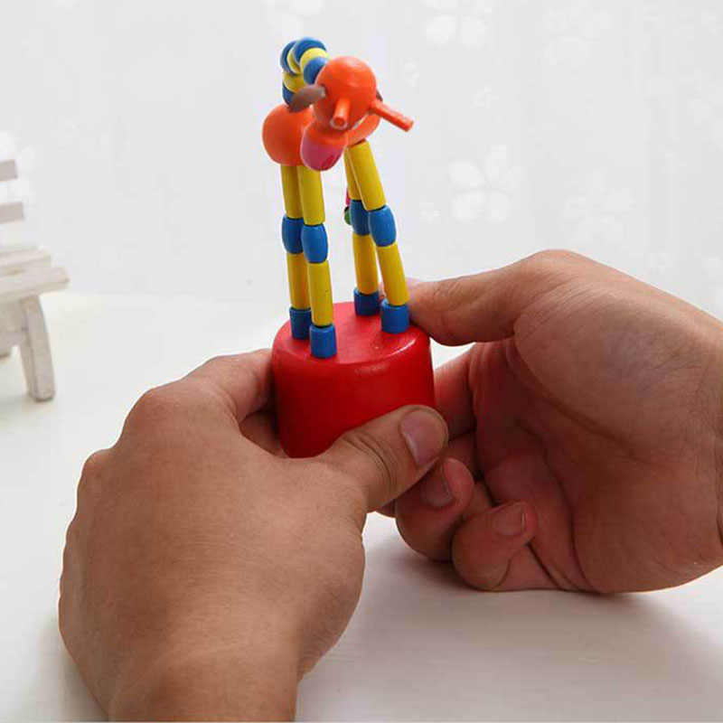 เด็กยีราฟไม้ของเล่นเด็กบล็อกโยกของเล่นเต้นโดยสายควบคุมเด็กการเรียนรู้การศึกษาของเล่น