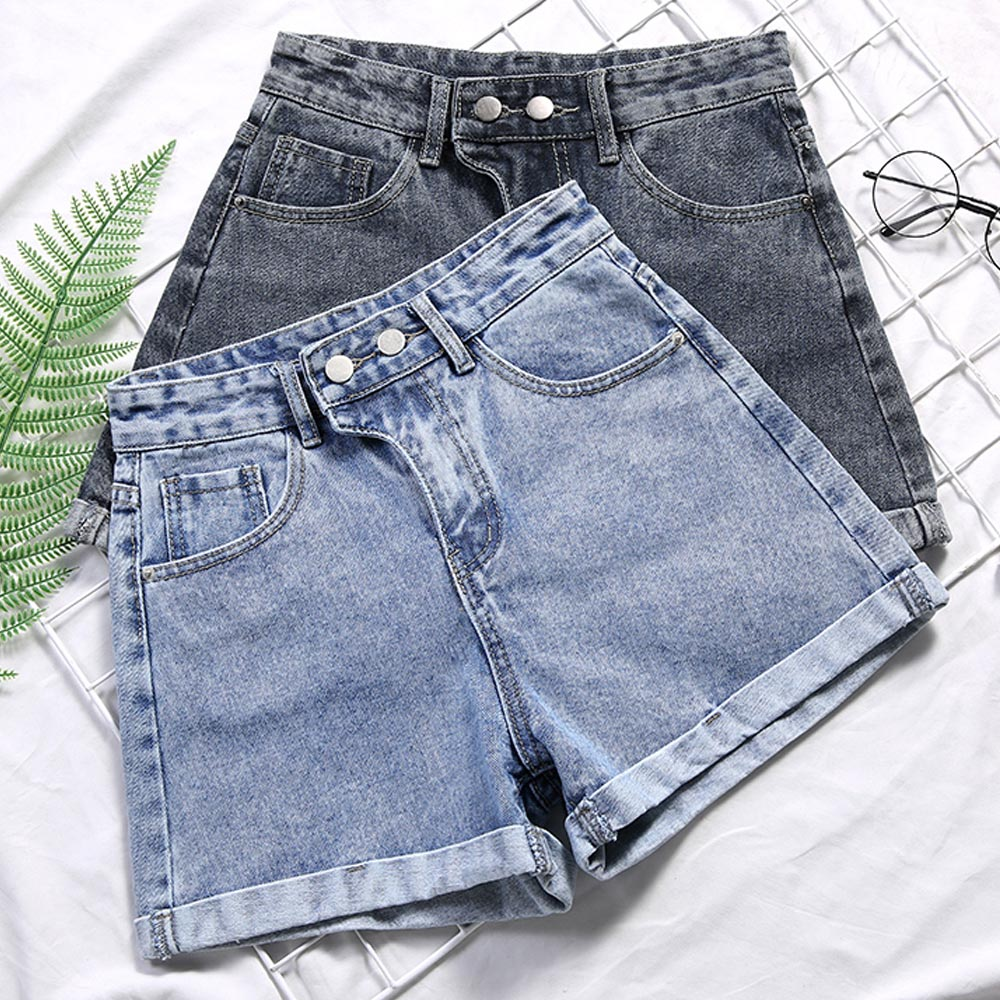 Denim Tight Bum Shorts Women Jeans High Waist Sexy Plus Size 2020 Summer Streetwear Casual Adjustable Button Skinny Slim Solid