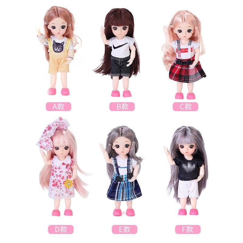 BJD кукла 1/12, 16 см, модная детская одежда принцессы, одежда телесного цвета с обувью, 13 подвижных суставов, 3D глаза, игрушки для девочек, сделай ...