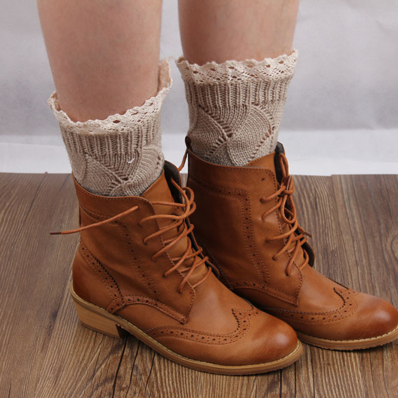 1 Pair Long Tube Scoks Women Lace Boot Cuffs Warmer Knitting Wool Striped Knee Sleeve Scoks Blend Leg Scoks