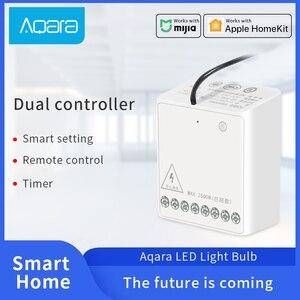 Image 1 - Aqara Smart Zwei weg Control Modul Zigbee Drahtlose Relais fernbedienung licht schalter Arbeit mit Xiaomi Mi Hause HomeKit APP