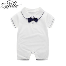 ZAFILLE Solid Baby Boy Clothes Short Sleeve Newborn Infant Baby Romper Cotton Soft Kids Clothes With Bow Tie Summer Boy Jumpsuit