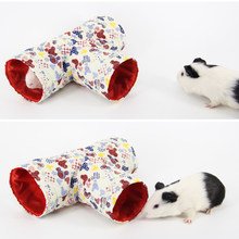 Pet Hamster T-Shaped Tunnels Toy Small Animals Toys Guinea Pig Tubes House Playing Hut Pet Tubes Bed Nest For Rabbits Ferrets(China)